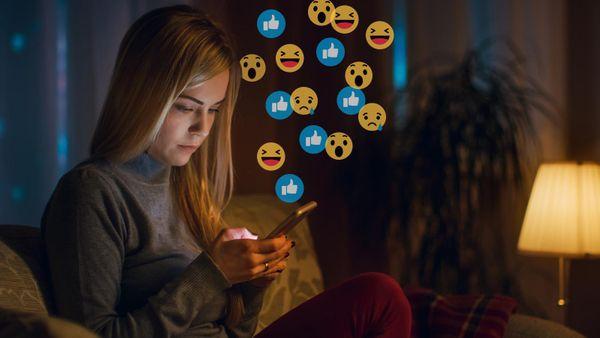 woman on social media at night