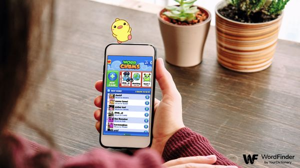 word chum game on phone with duck