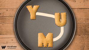 word cookies on pan yum