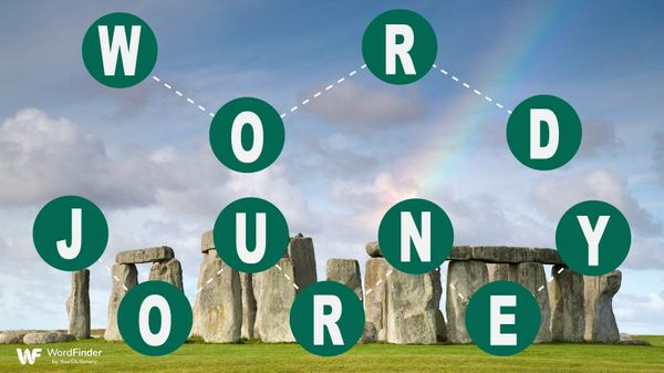circled letters connected with scenic background