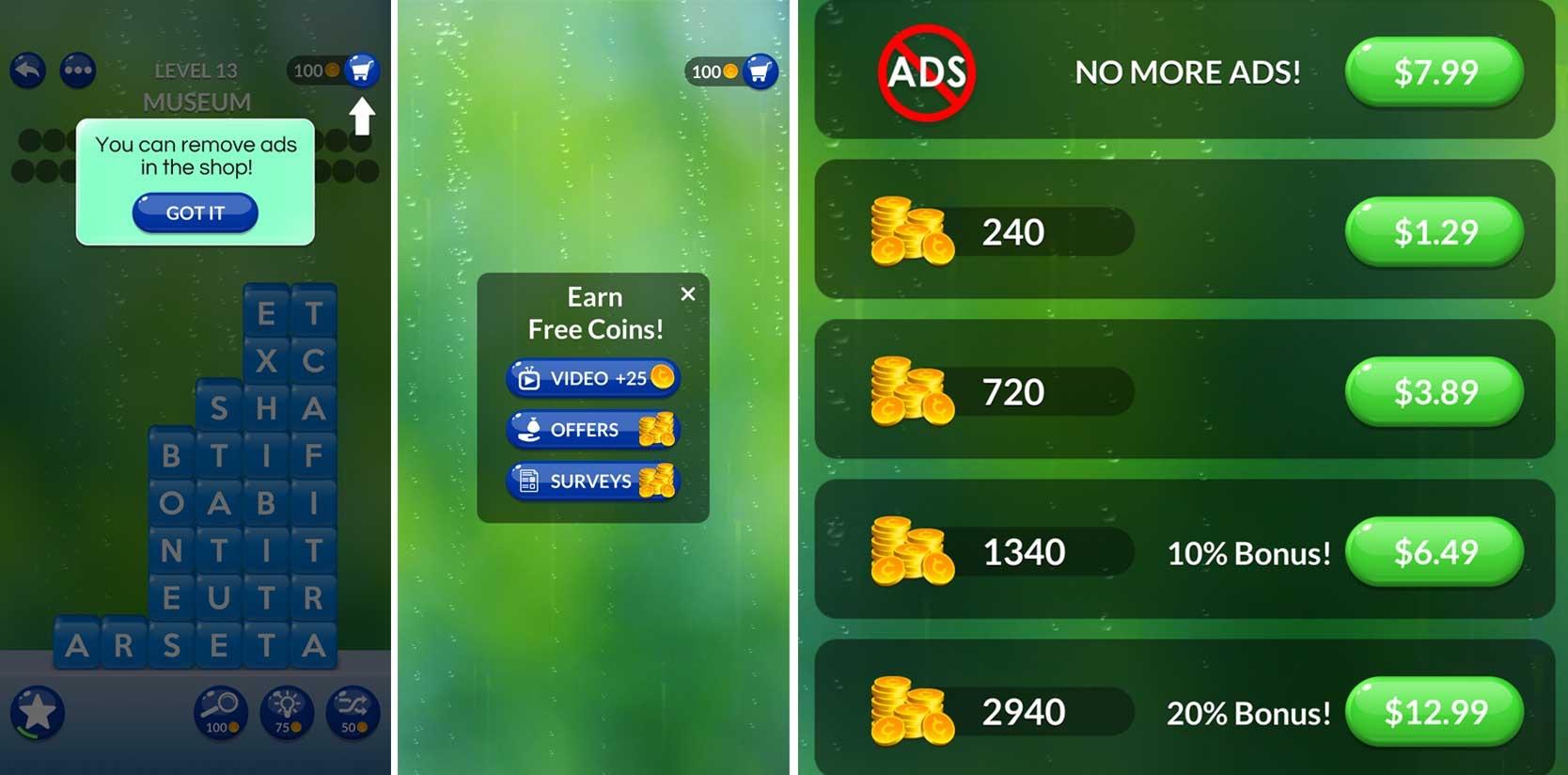 Screenshot of Word Stacks game