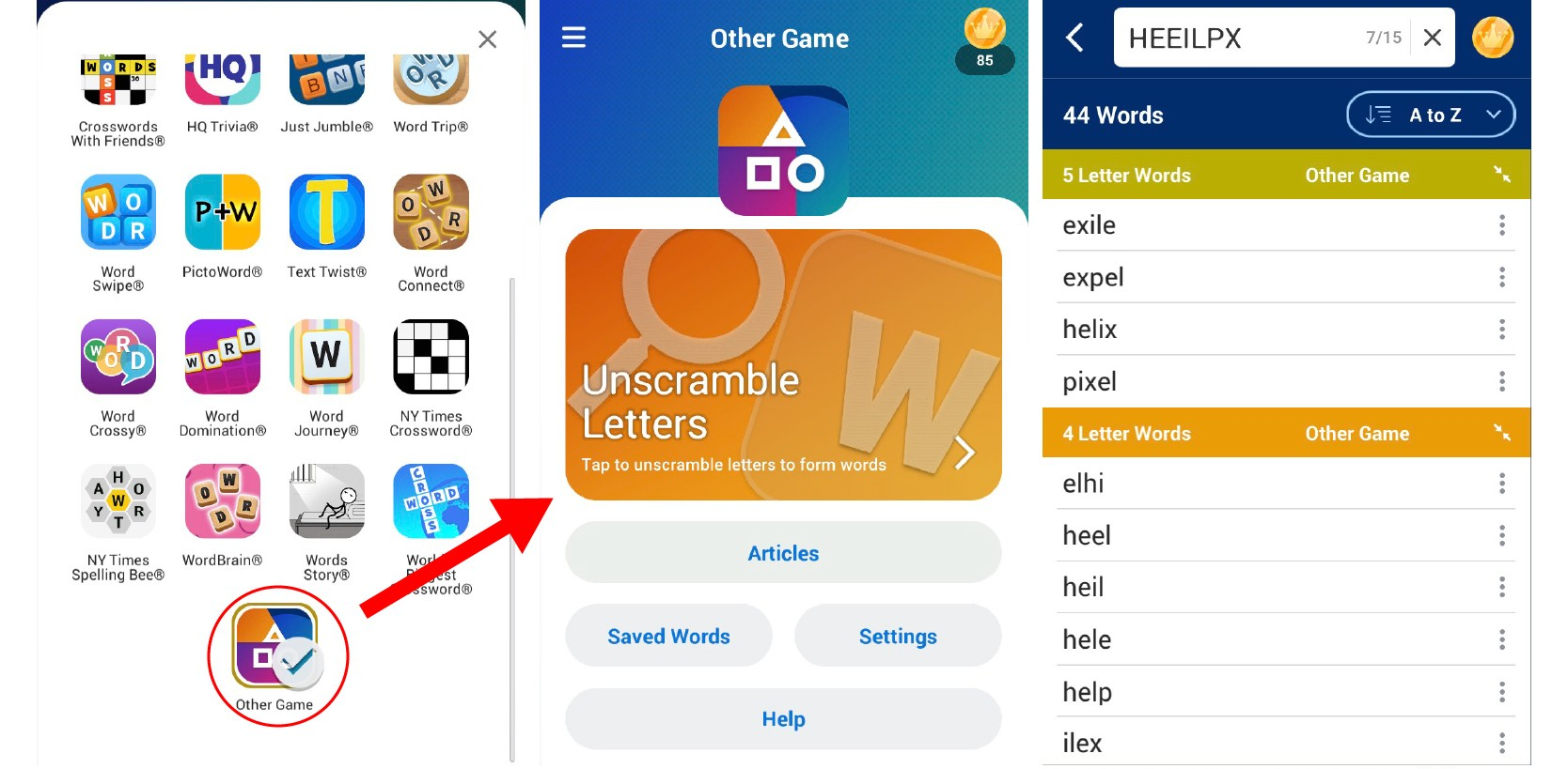 Wordfinder unscrambles Word Wars
