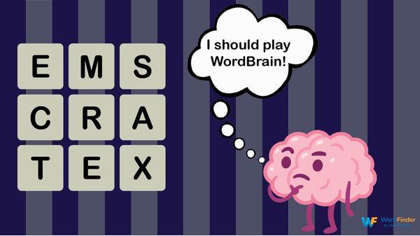 cartoon brain thinking of wordbrain game
