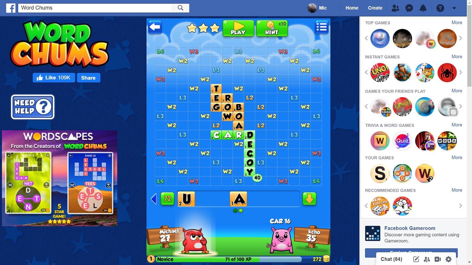 Screenshot of Word Chums game