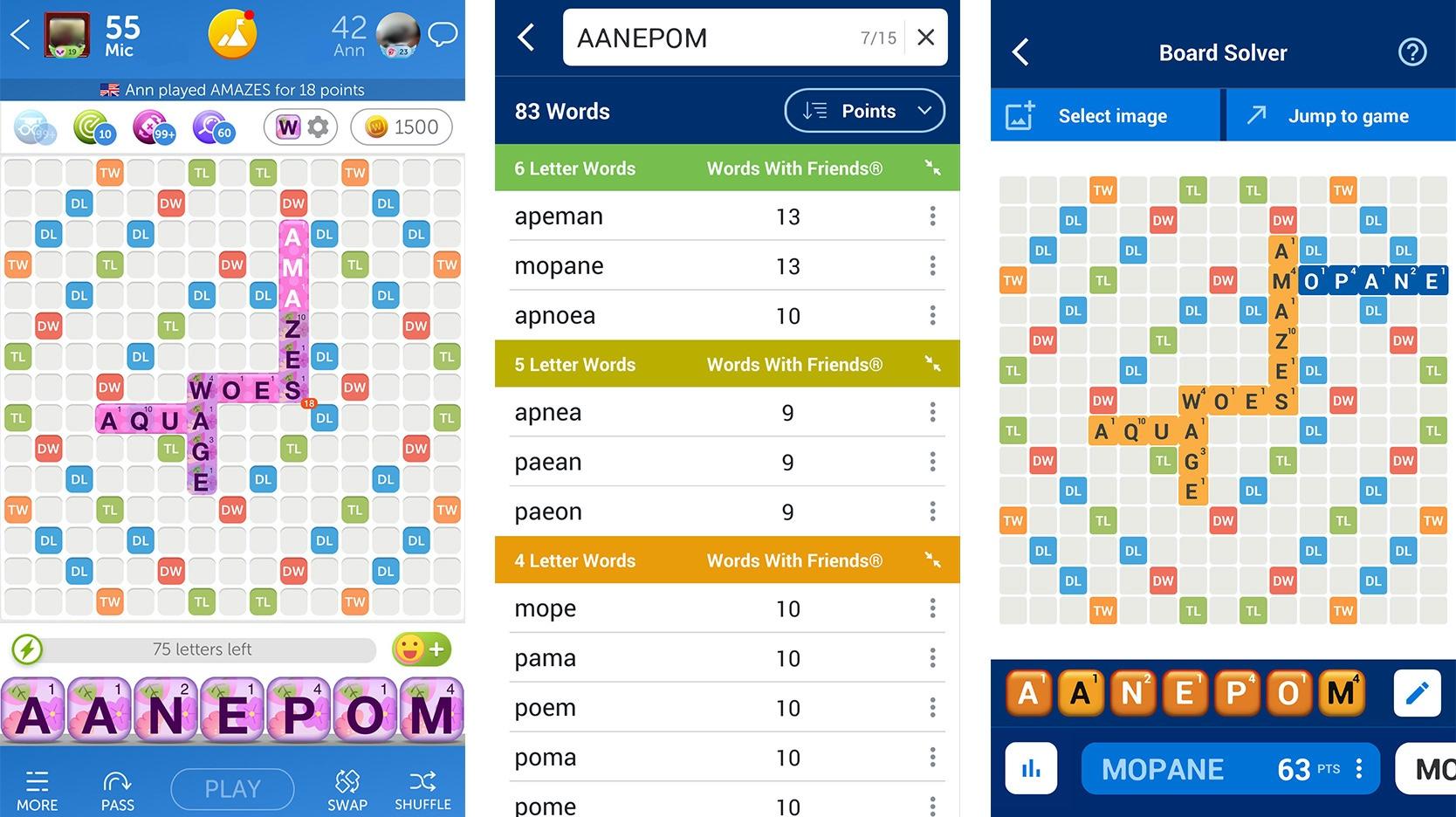Screenshot of WordFinder App example 2