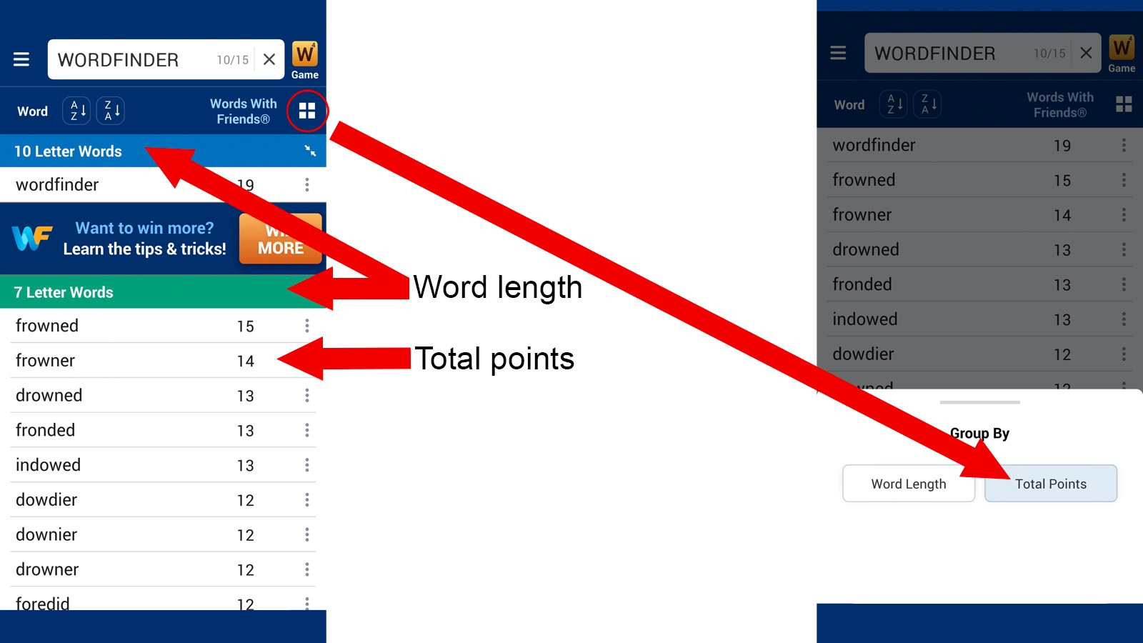 Wordfinder App sort Total Points instructions