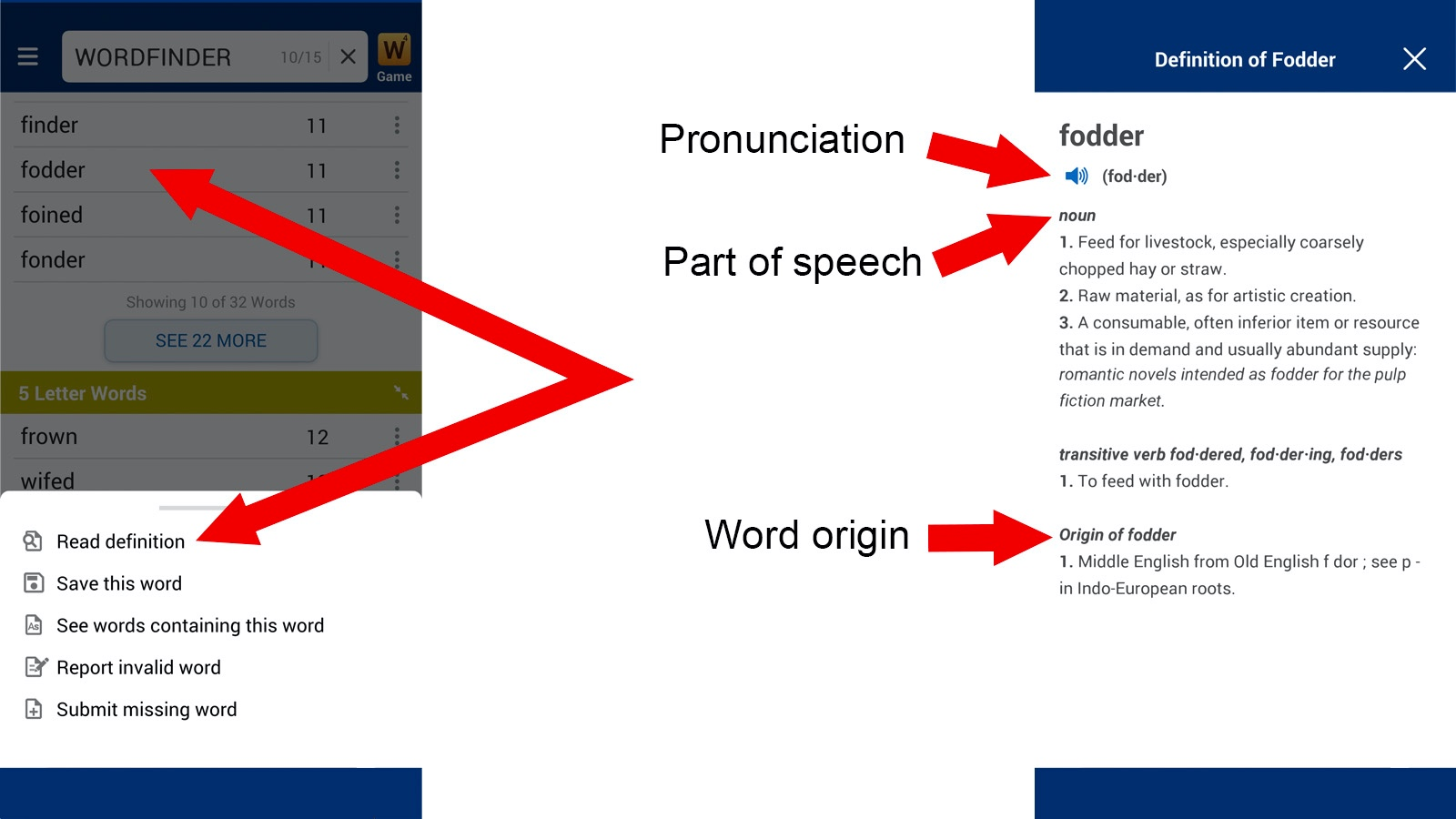Wordfinder App word definition instructions