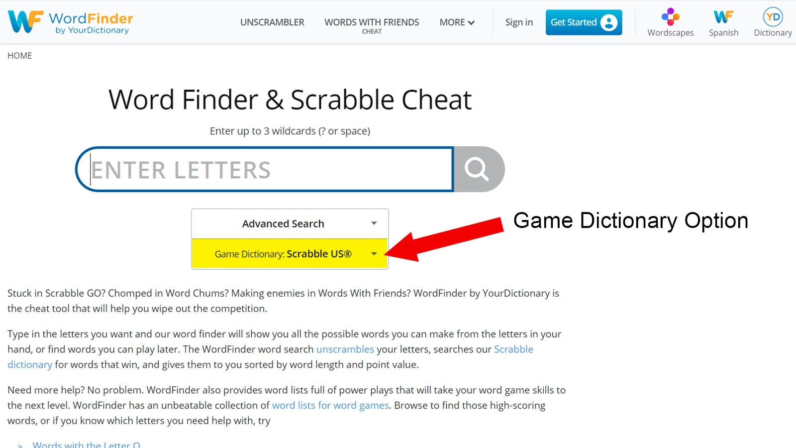 how to use Word Finder
