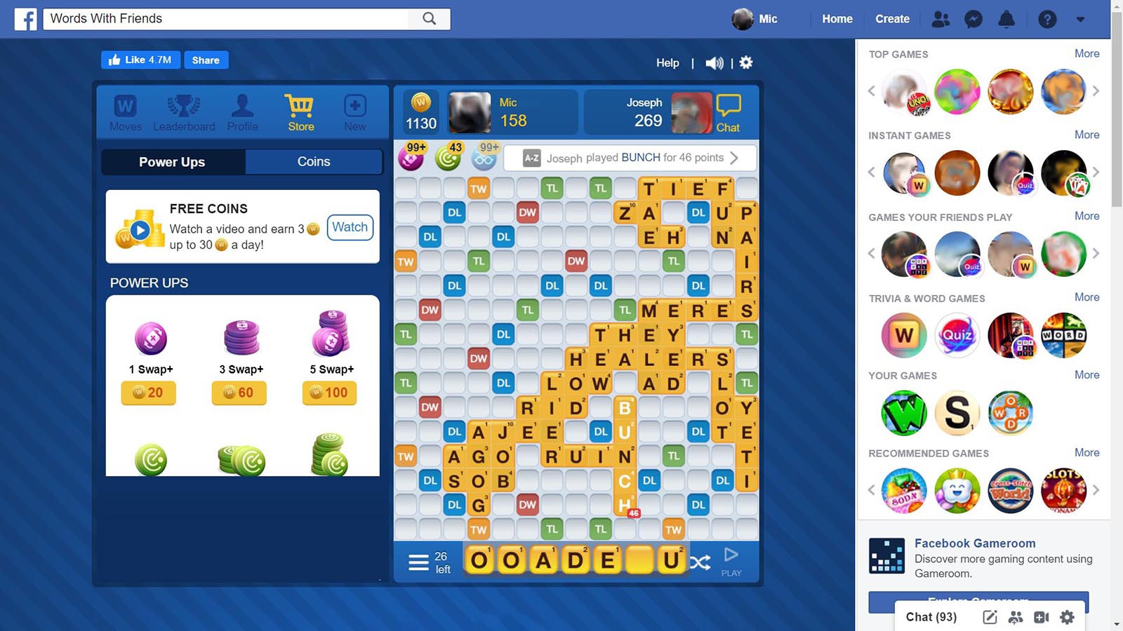 Screenshot of Words With Friends on Facebook