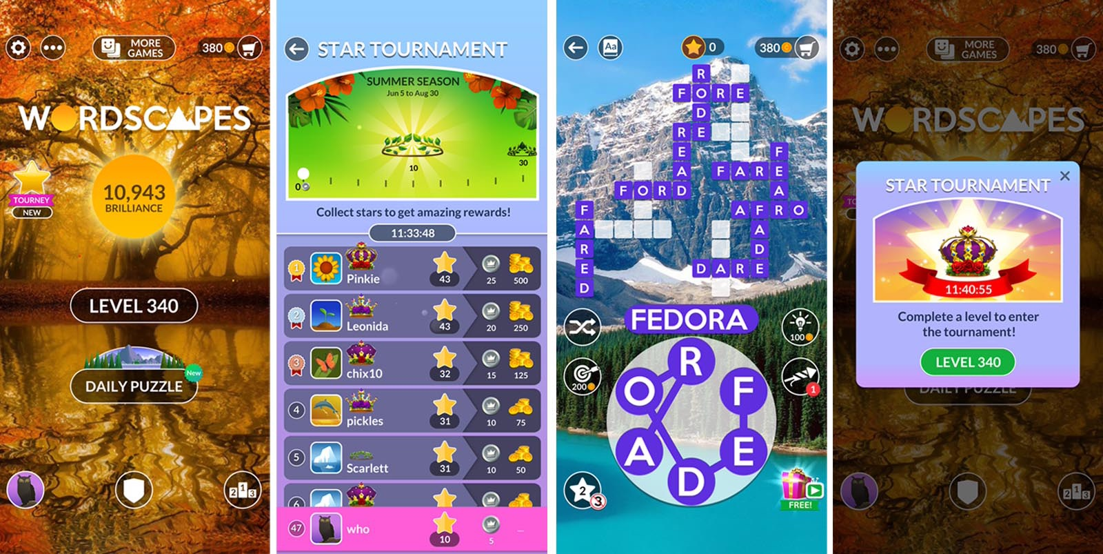 screenshot of Wordscapes tournament