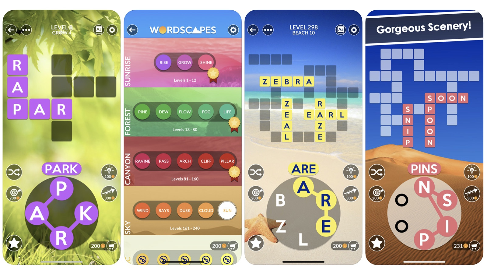 Wordscapes game screenshot