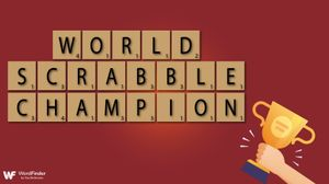 world scrabble champion tiles with trophy