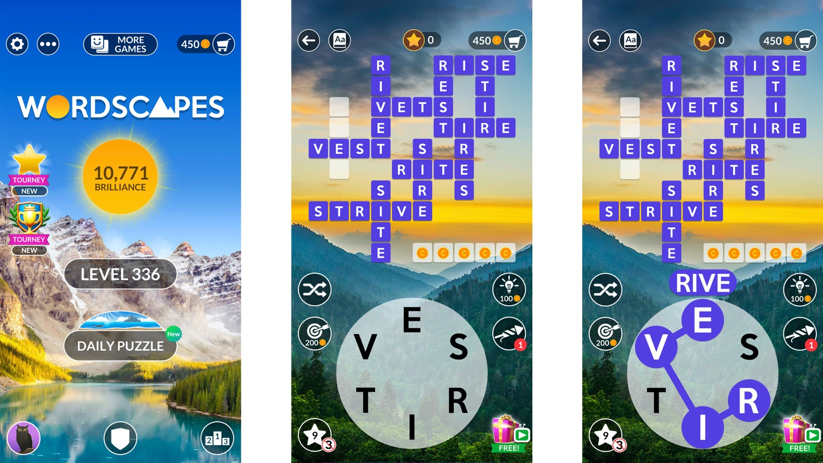 screenshot basic Wordscapes game play instruction