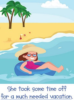 Woman floating in the ocean as adverb phrase examples