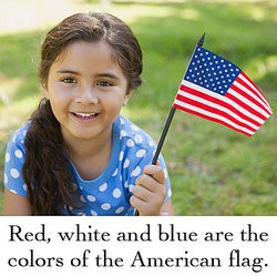 Smiling girl holding little American flag as compound subject examples