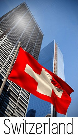 Swiss flag waving as examples of capitalism