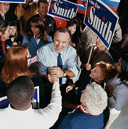 People at a political campaign as examples of guilt by association