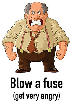 Angry man blowing a fuse as example of science idioms