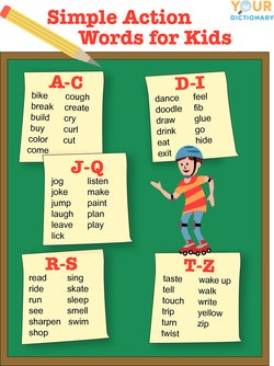 Simple Action Words for Pre-K Children