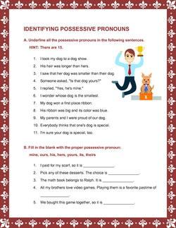 Possessive Pronoun Worksheets