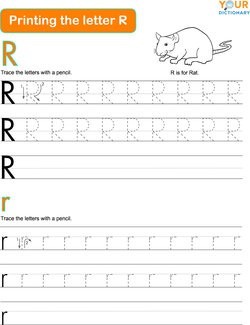 printing the letter R practice worksheet