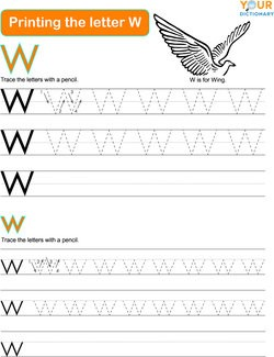 printing the letter W practice worksheet