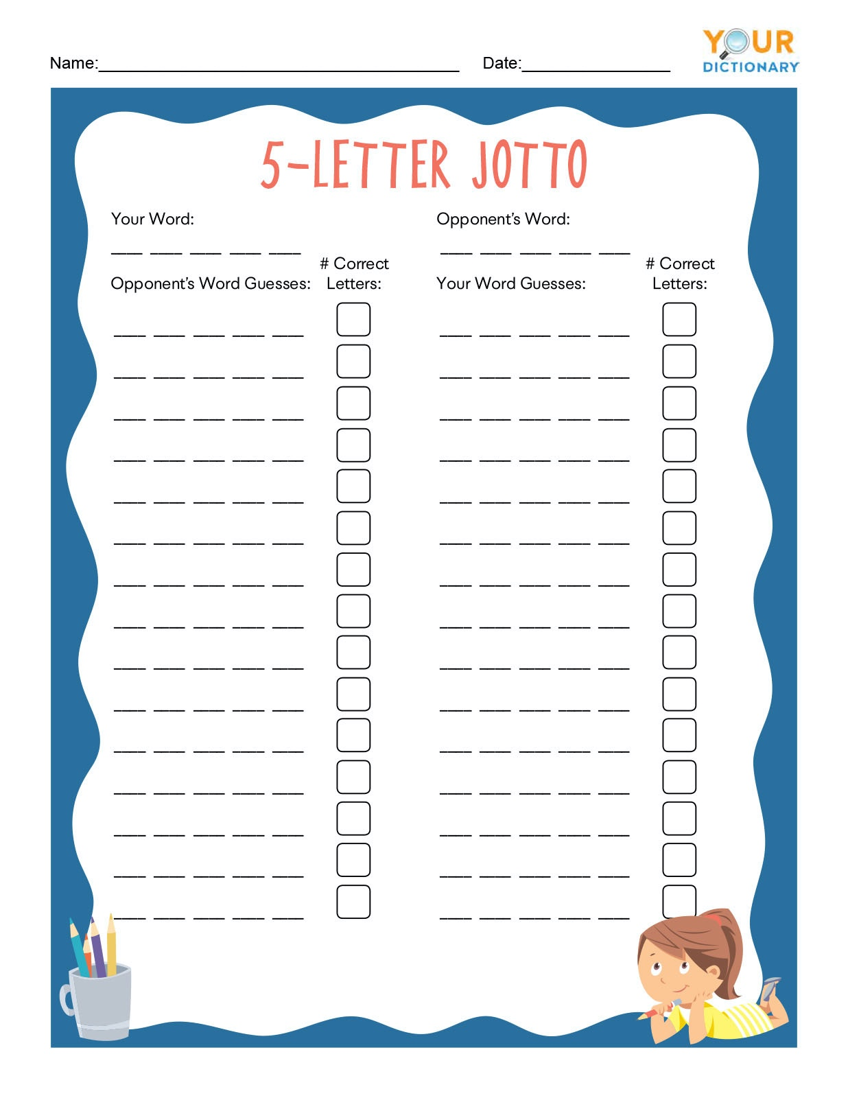 5 Letter Jotto Worksheet