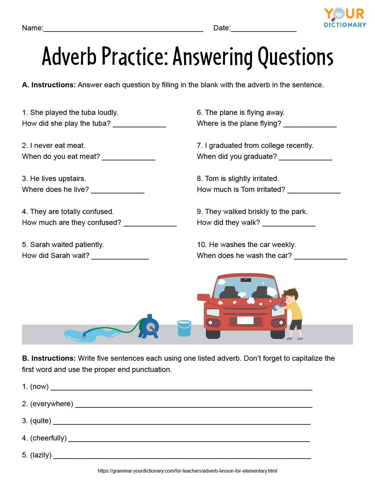 adverb practice worksheet answering questions