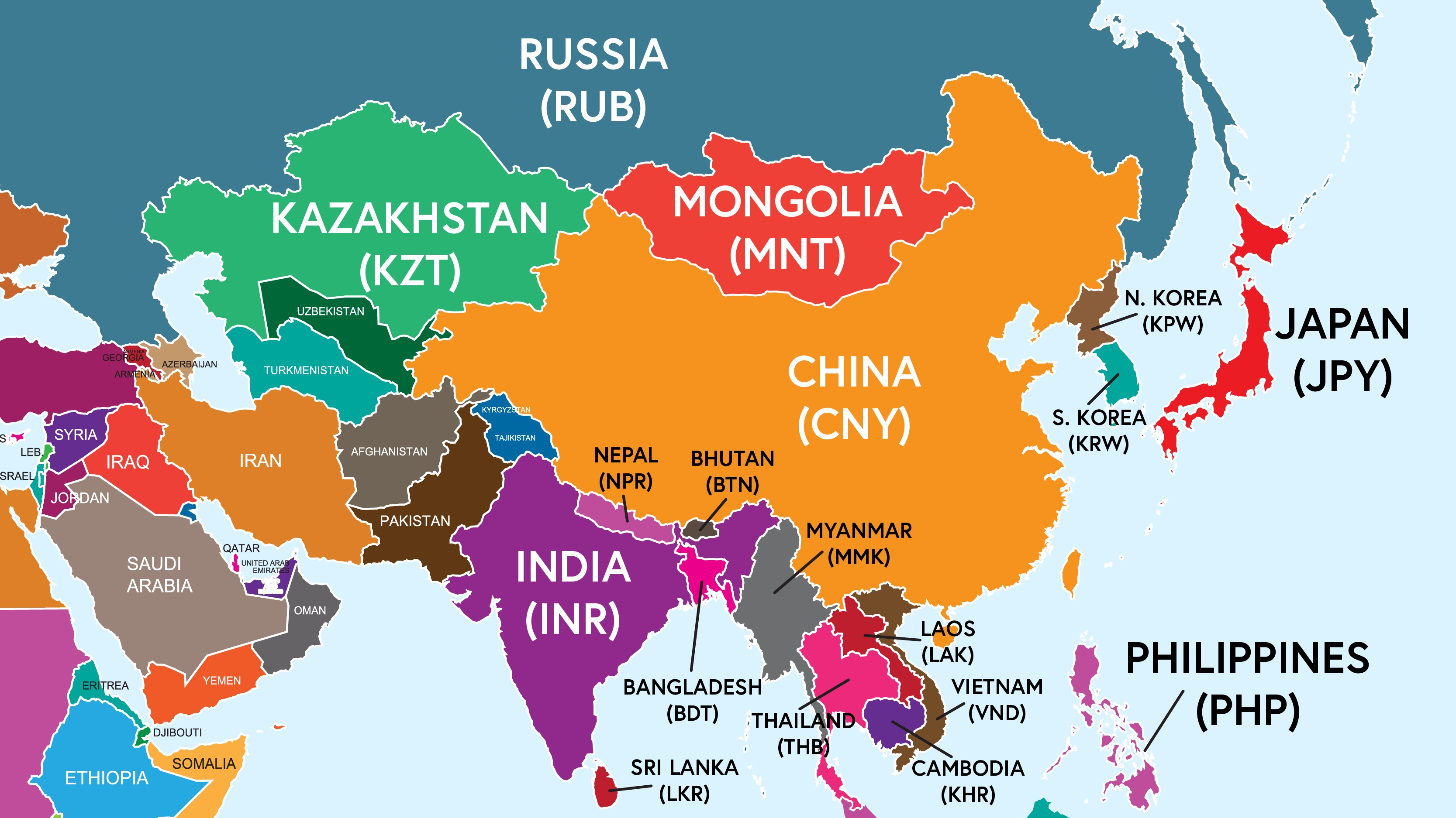 Asian countries three letter currency codes