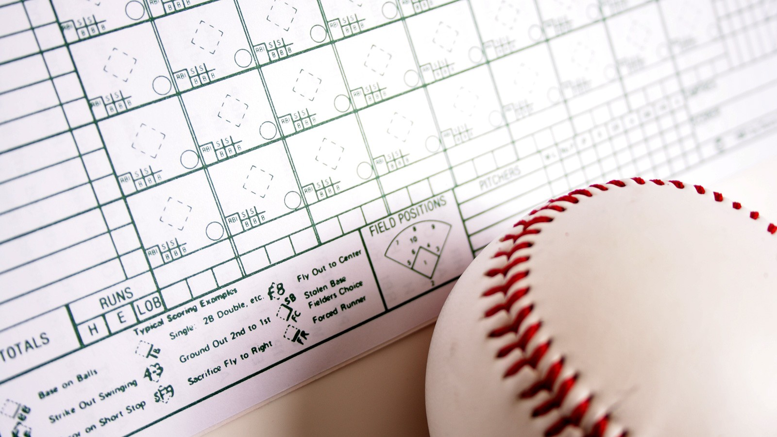 Baseball scorecard with baseball