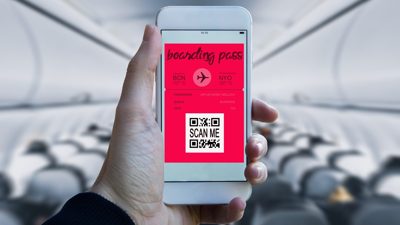 Boarding pass on a mobile phone