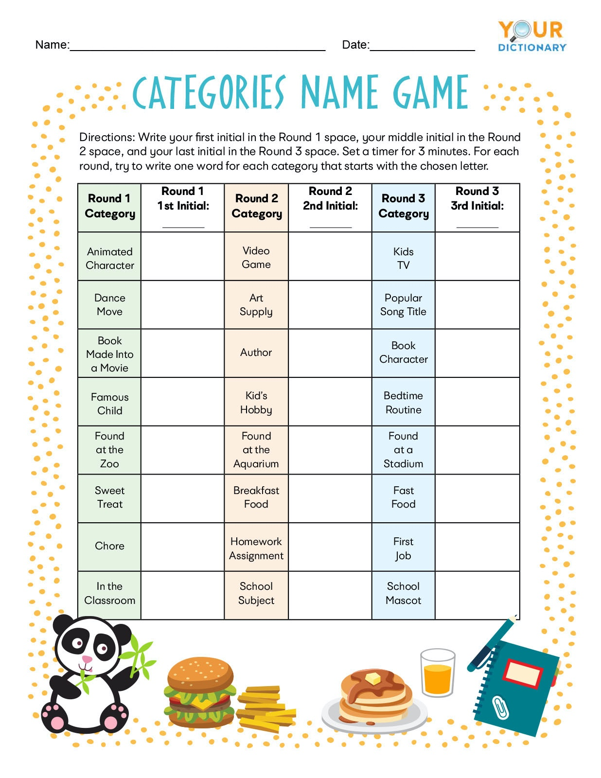 Categories Name Game