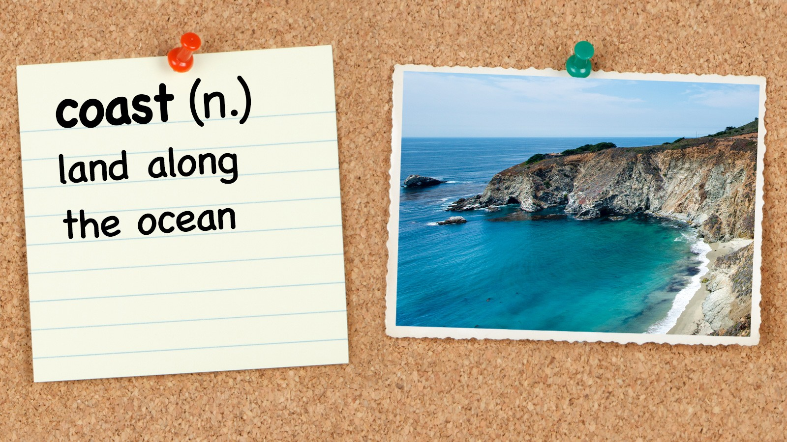 Vocabulary word coast with definition