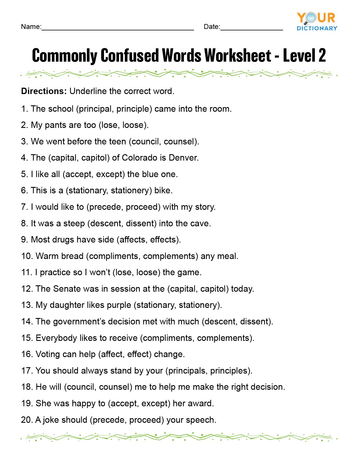 Commonly Confused Words Worksheet Level 2