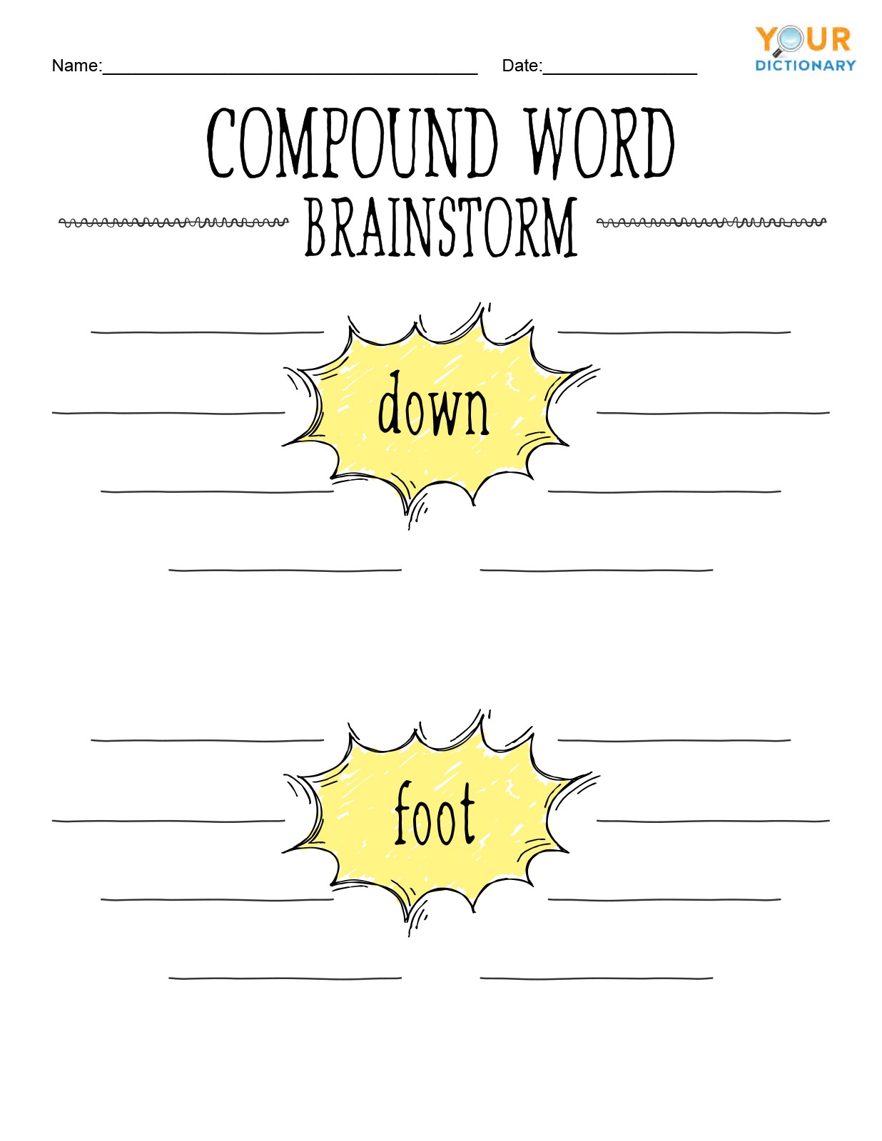 Compound Word Brainstorm Worksheet