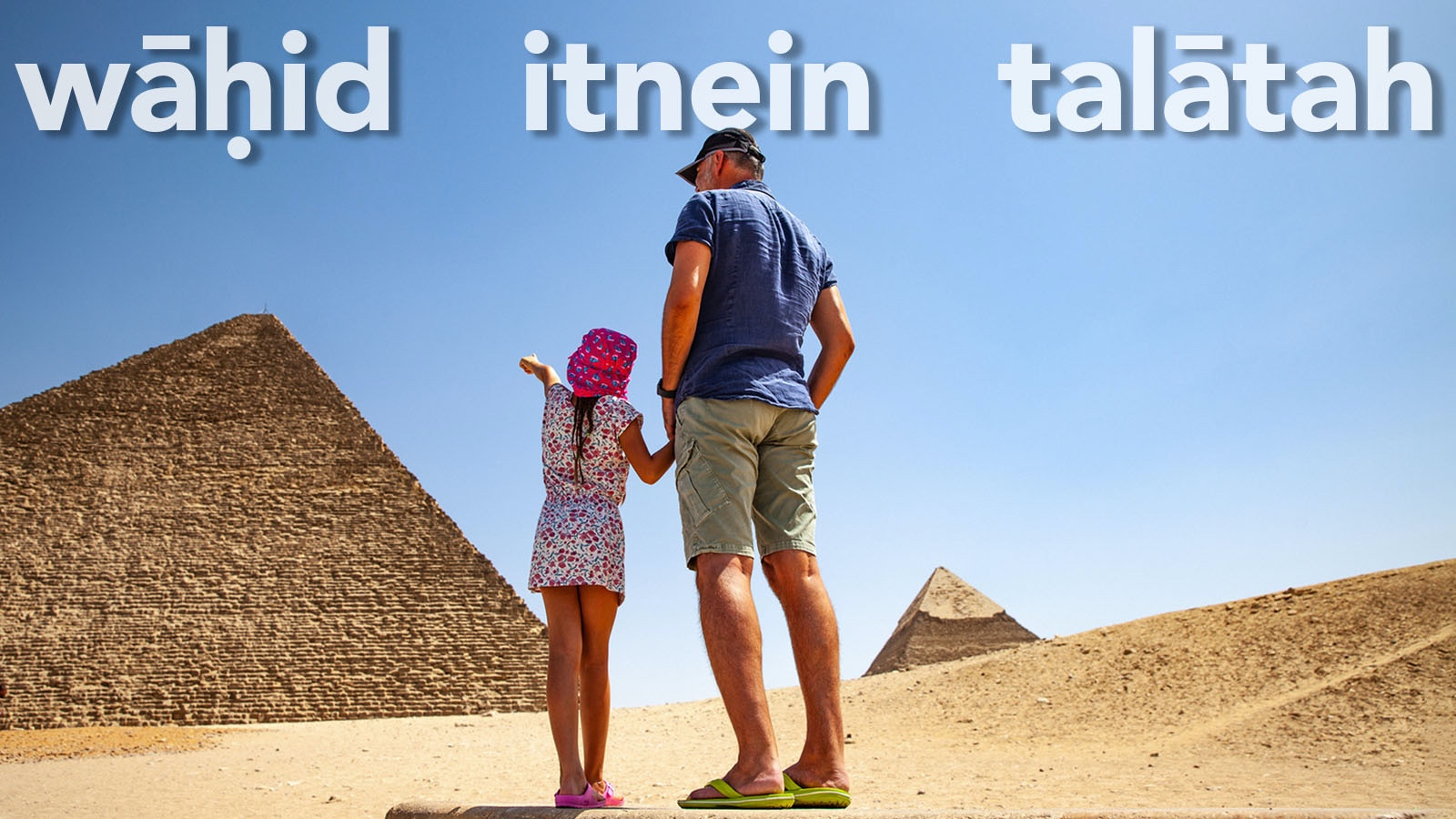 Father and Daughter Counting Pyramids in Giza