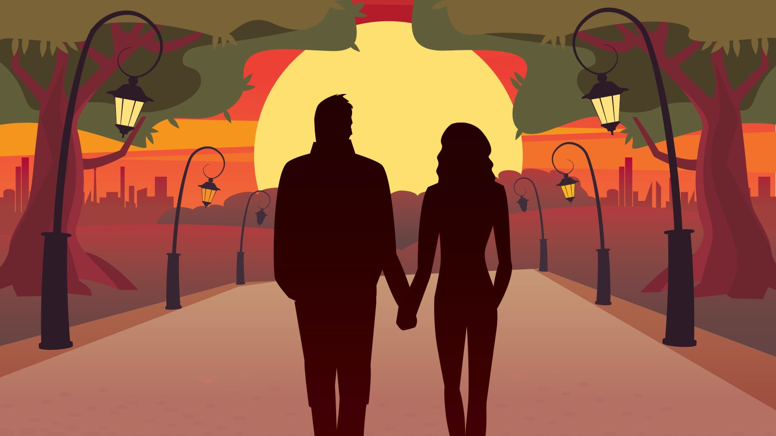 example denouement couple walking into sunset