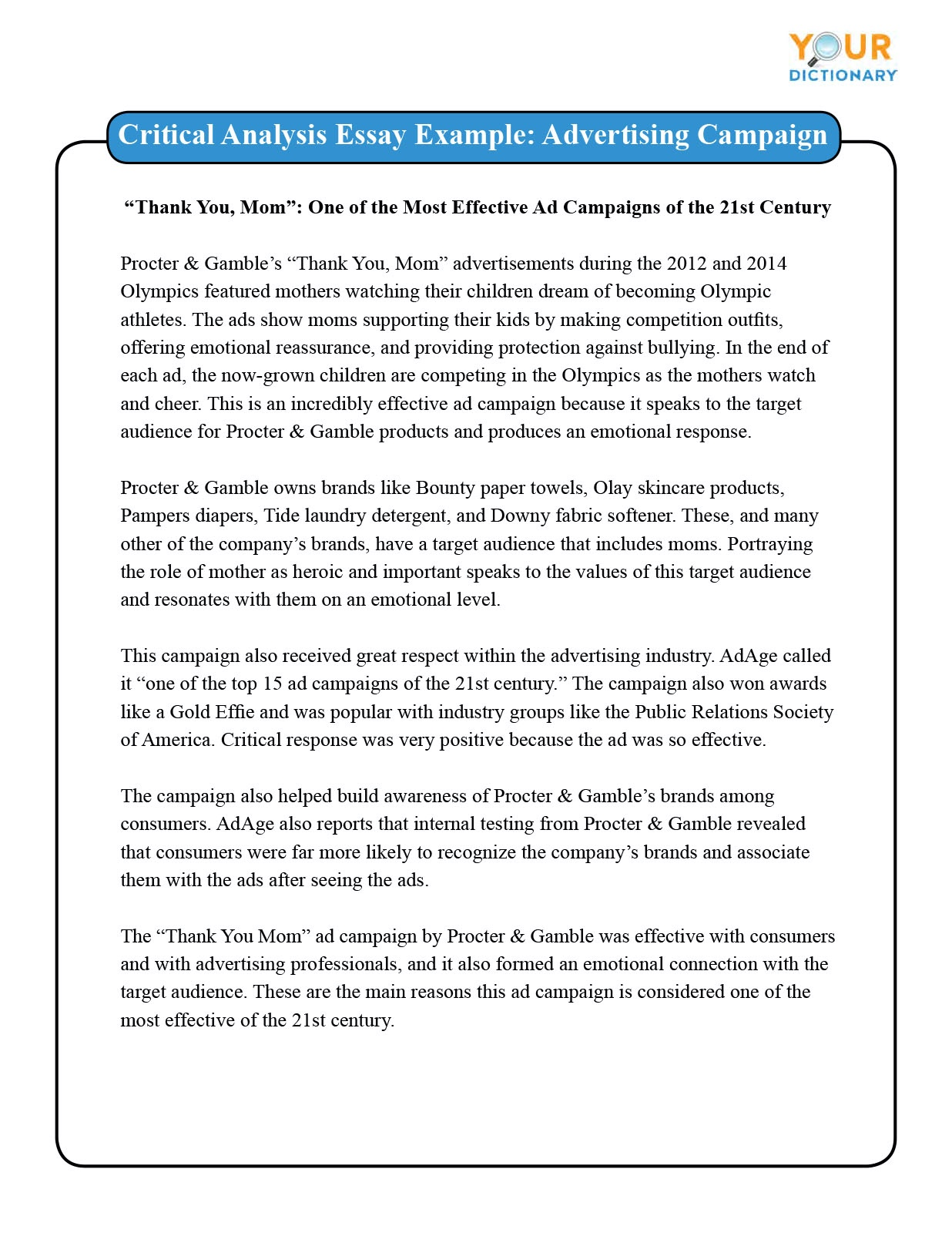Example of Critical Analysis Advertising Essay
