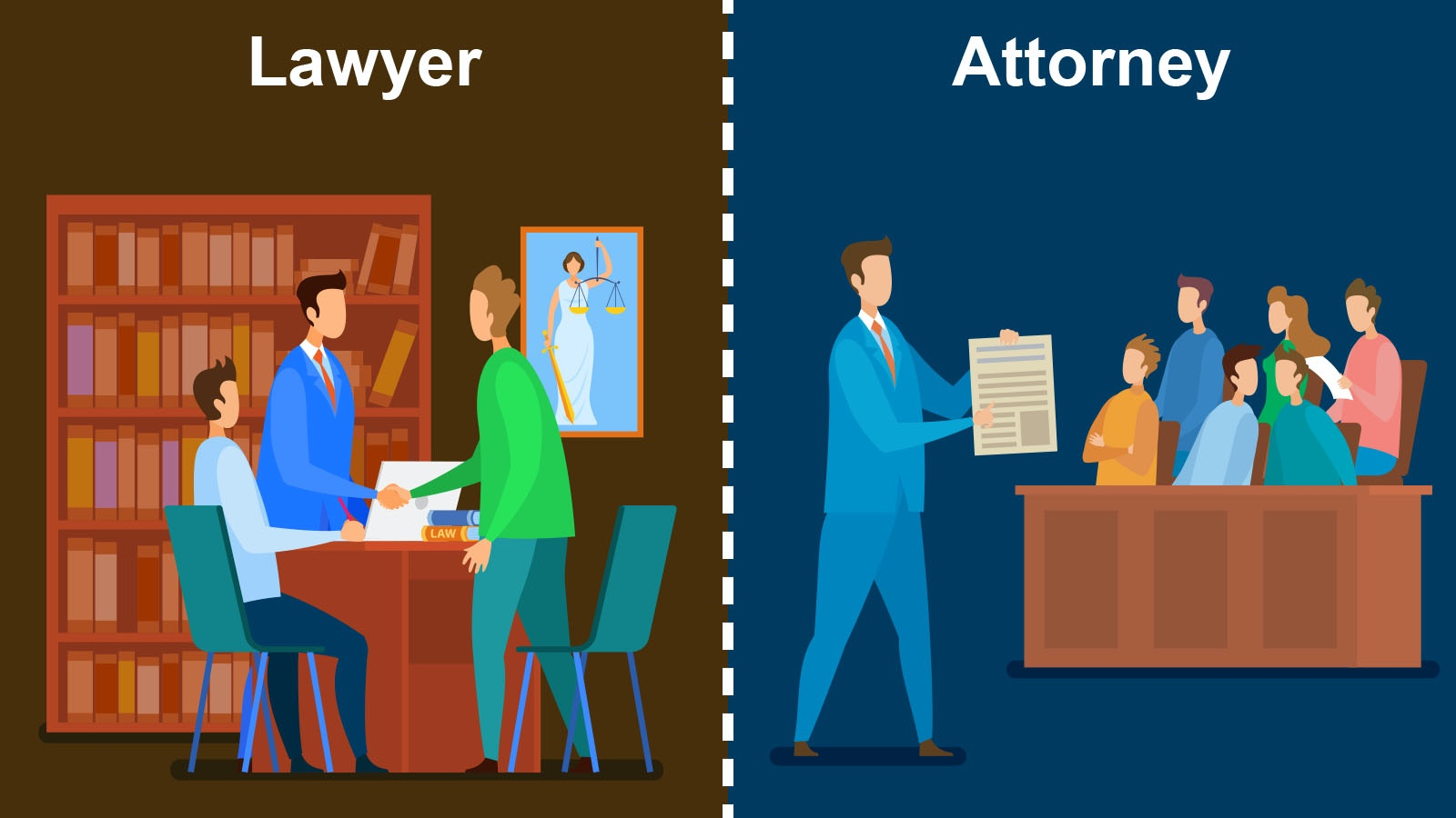 difference between lawyer and attorney