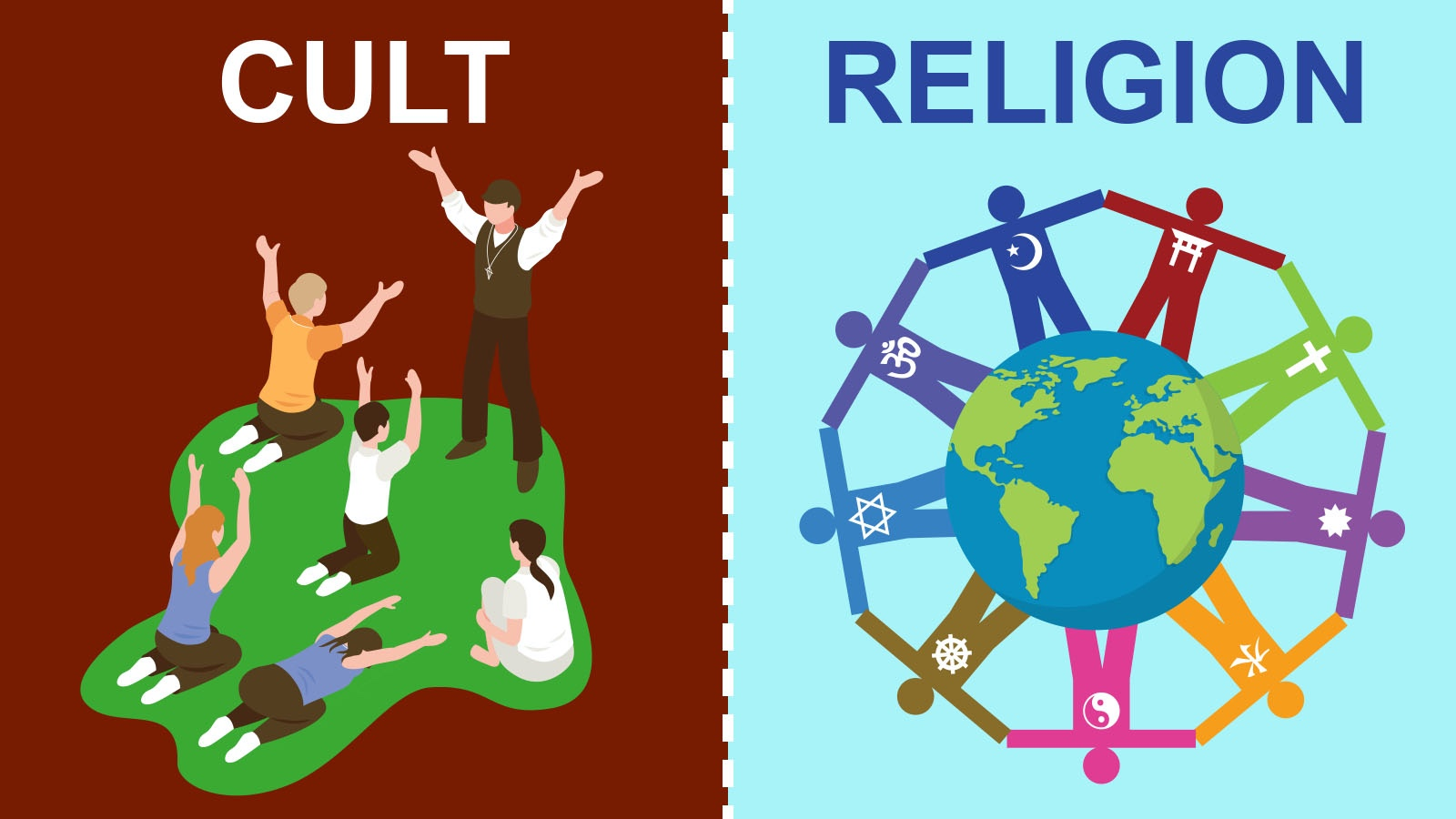 difference between cult and religion