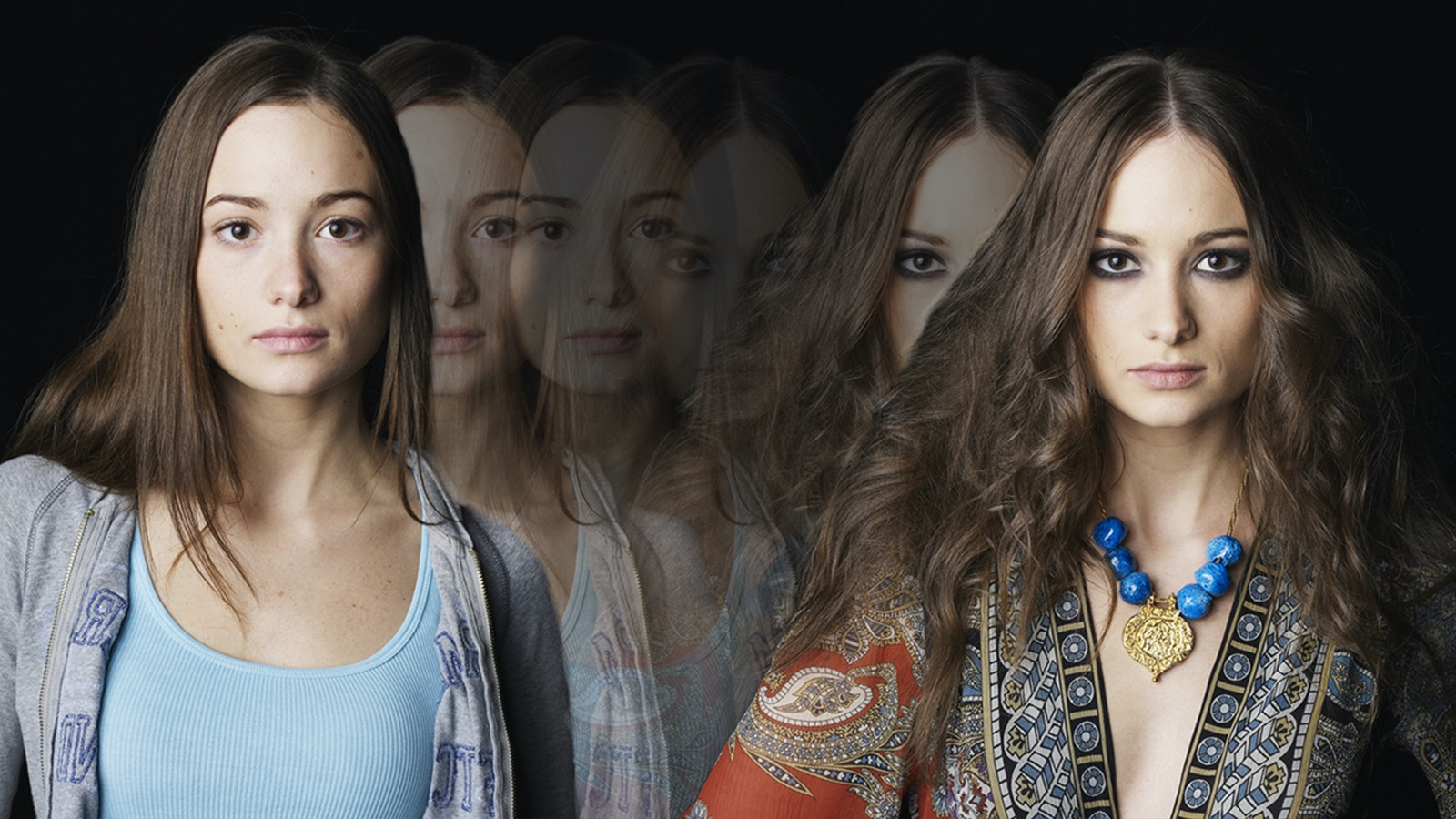 woman dynamic character transforming