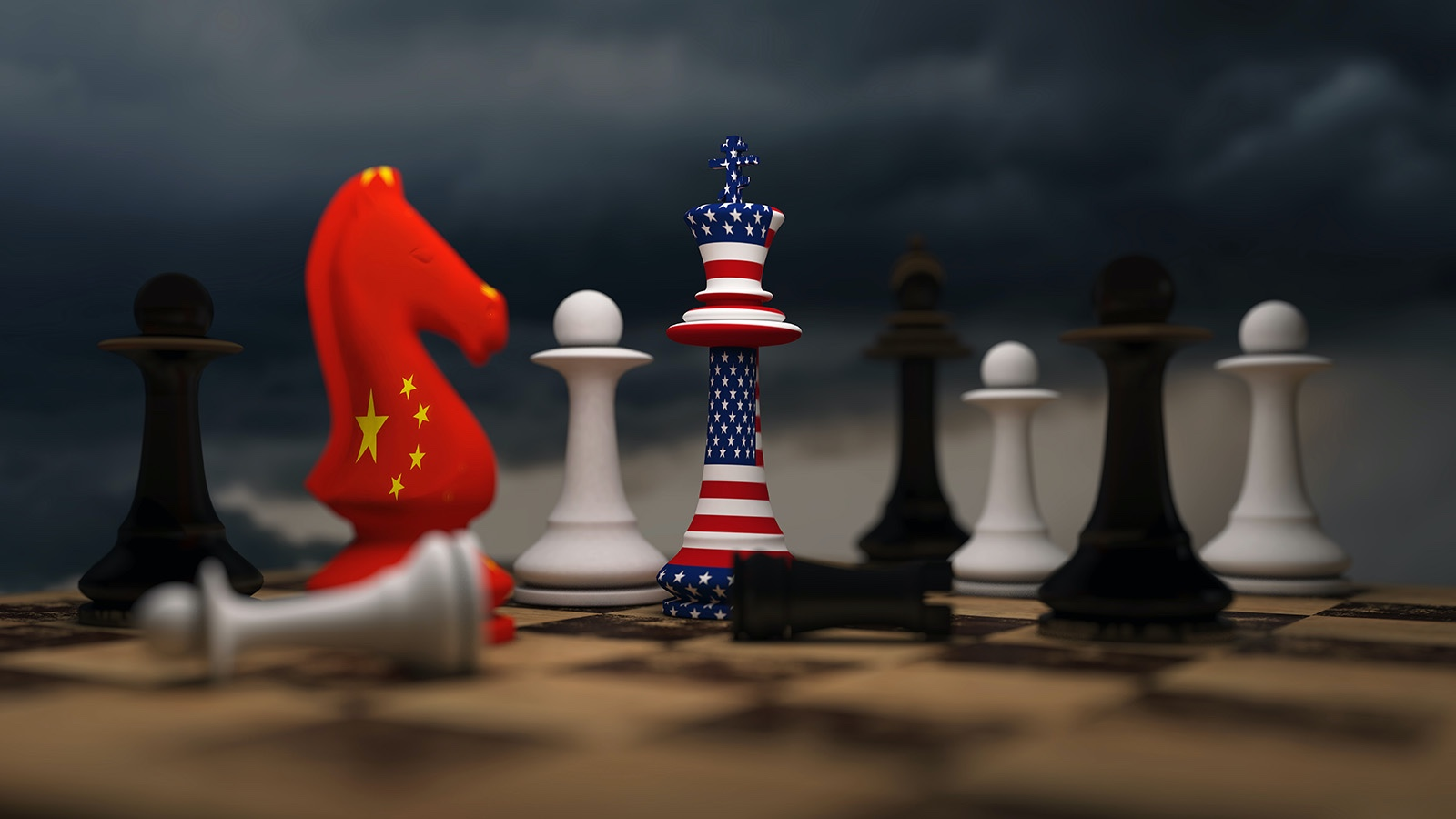 economic sanctions China and US chess pieces