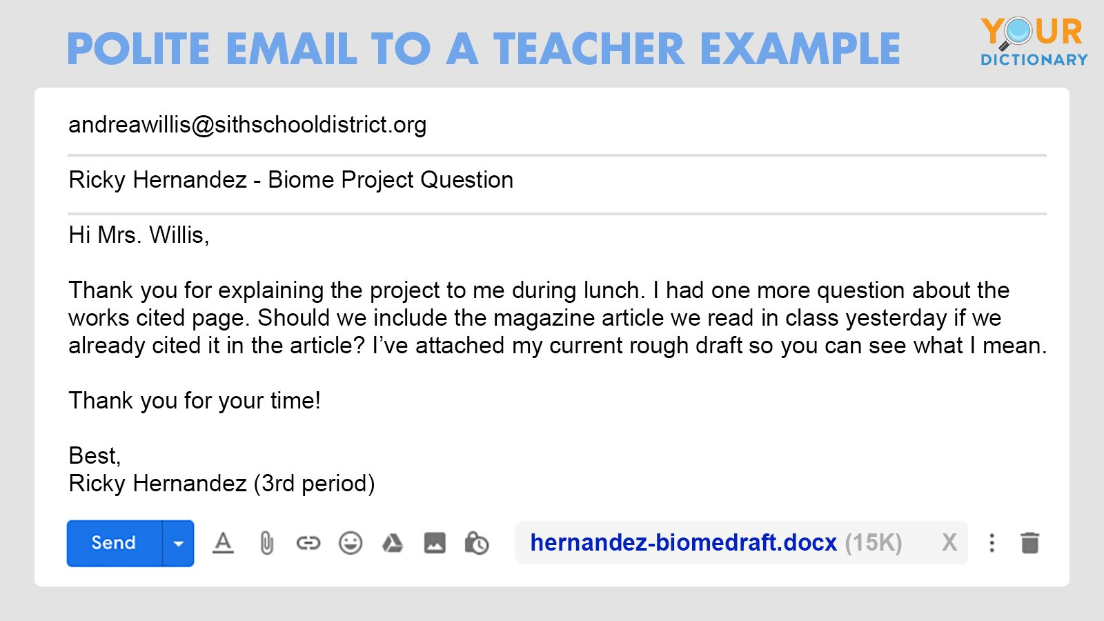 polite email to a teacher example