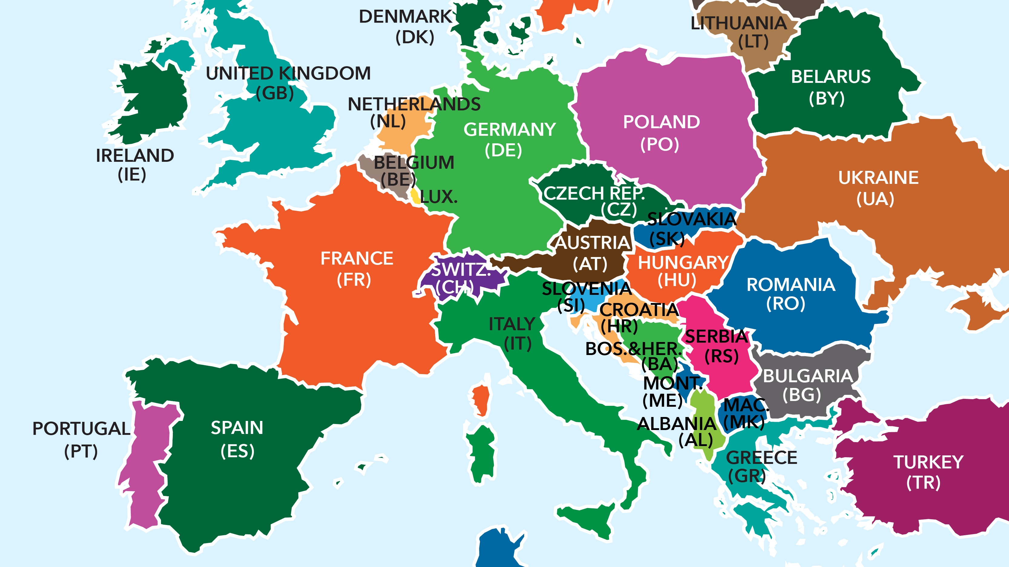 European Union Country two letter codes