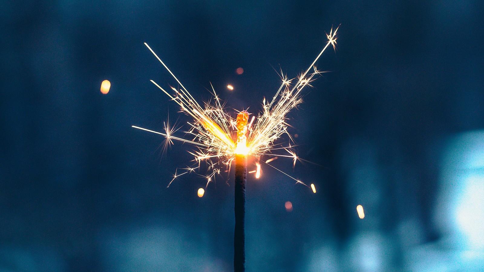 Bright fireworks sparkler at night