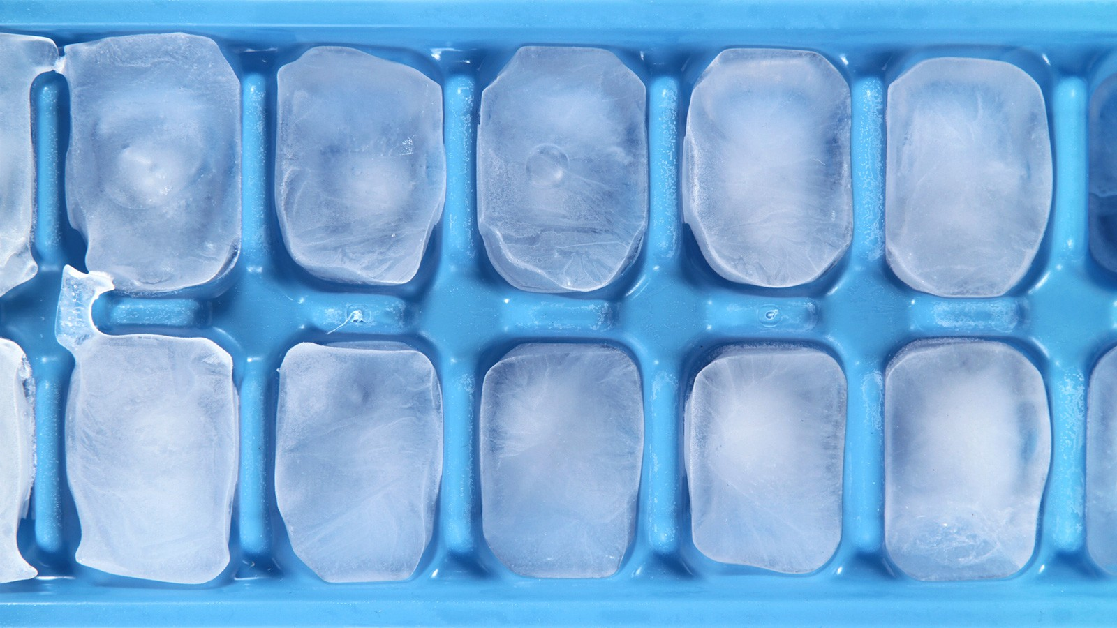 frozen ice cubes in tray