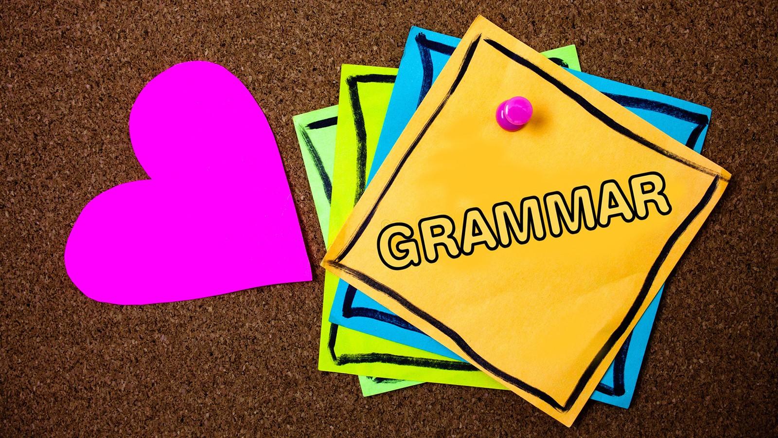 grammar term written on note