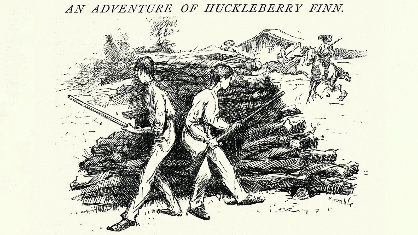 behind the wood-pile Huckleberry Finn