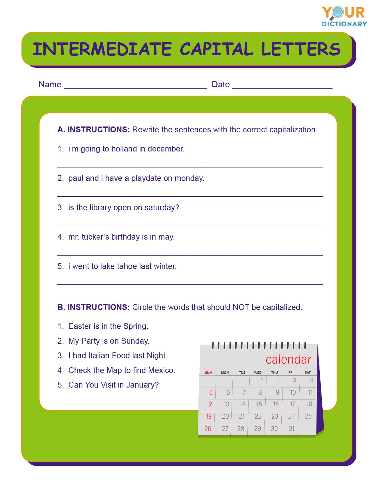 Grade 1 Capitalization Worksheets