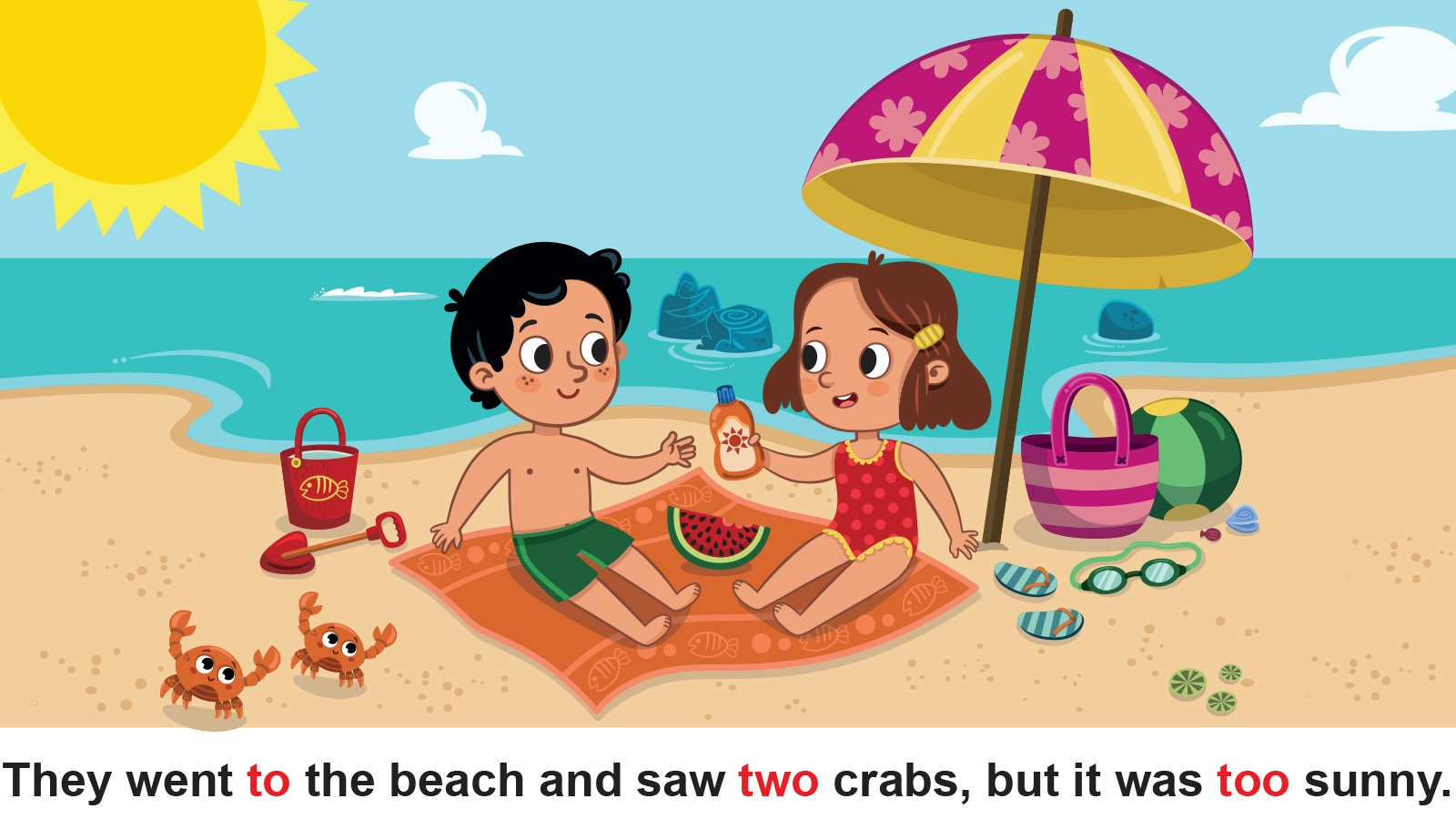 Kids at beach comparing 'to', 'two', 'too'.
